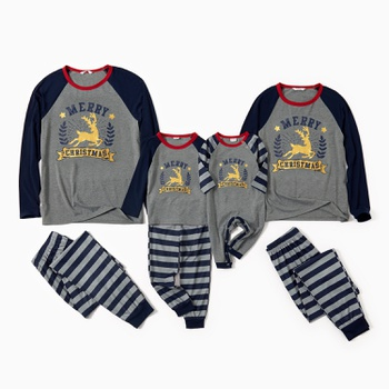 Family Matching Golden Reindeer Print Top and Striped Pants Christmas Pajamas Sets (Flame Resistant)