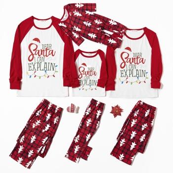 Family Matching Letter Print Christmas Tree Plaid Pajamas Sets (Flame Resistant)