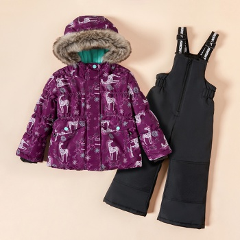 2-piece Toddler Unicorn Hooded Jacket and Snow Bib Ski Suit