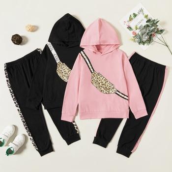 Trendy Leopard Bag Print Hooded Sweatshirt and Pants Set