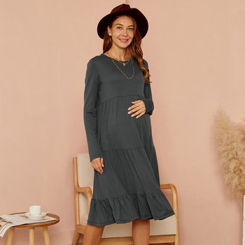 Maternity Round collar Plain Knee length Tunic Long-sleeve Dress