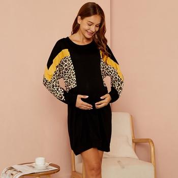 Maternity Round collar Leopard full print Black Normal H Long-sleeve Nursing Dress