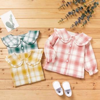 1pc Cotton Long-sleeve Baby Girl casual Plaid Shirt & Smock