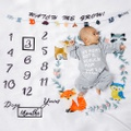 12 Monthly Cute Cartoon Animal Print Baby Milestone Photography Newborn Soft Baby Photography Props Background Blanket photo