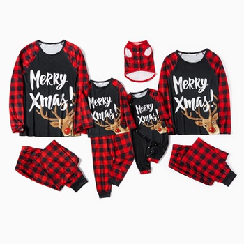 Family Matching ' Merry Xmas ' Reindeer Print Plaid Christmas Pajamas Sets(Flame Resistant)
