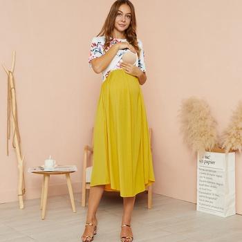Maternity Round collar Color Block Color block Yellow Midi H Short-sleeve Nursing Dress