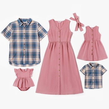 Mosaic Family Matching 100%Cotton Spring Sets(Pink Tank Dresses - Plaid Short Sleeve Shirts - Rompers)