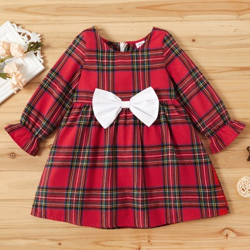 Toddler Girl Bowknot Classic Grid Long-sleeve Dress