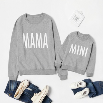 Letter Print Grey Cotton Sweatshirts for Mom and Me