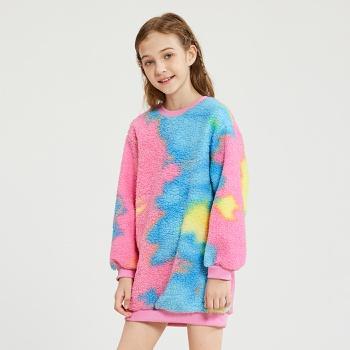 Kid Girl Tie Dye Fluff Sweatshirt