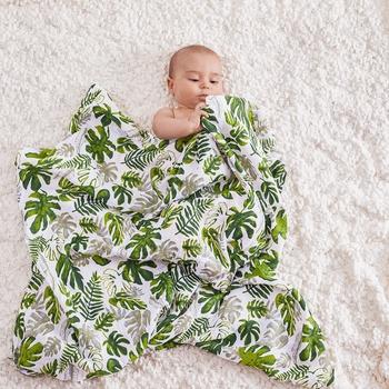 Leaf Print Muslin Cotton Blanket