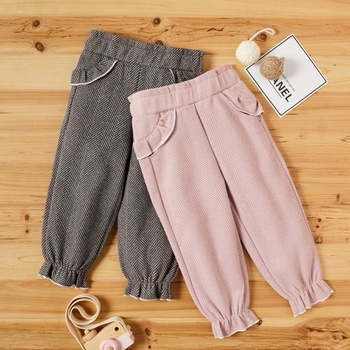 Baby / Toddler Girl Ruffled Solid Zigzag Patterned Casual Pants