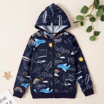 Kids Boy Airplane Allover Zipper Hooded Sweatshirt