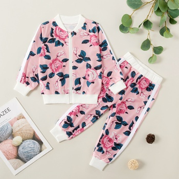 Pretty Floral Allover Print Sweatshirt and Pants Set