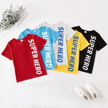 Kid Boy SUPERHERO Letter Print Multicolor T-shirt