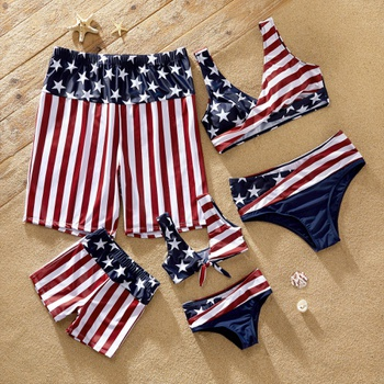 National Day Star Striped  Matching Swimsuits