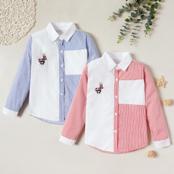 Trendy Striped Horse Embroidered Splice Lapel Collar Shirts