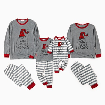 Family Matching Santa Print Striped Christmas Pajamas Sets(Flame Resistant)