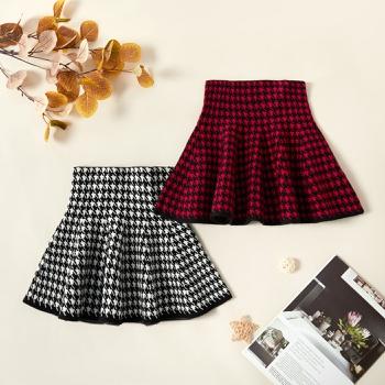 Stylish Houndstooth Elasticized Skirts