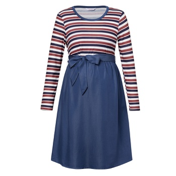 Maternity Round collar Stripes full print Blue Normal A Long-sleeve Nursing Dress