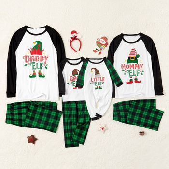 Family Matching Elf Print Contrast Top Green Plaid Christmas Pajamas Sets (Flame Resistant)