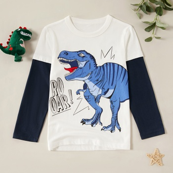 Stylish Cartoon Dinosaur T-Rex Faux-two Long-sleeve Tee