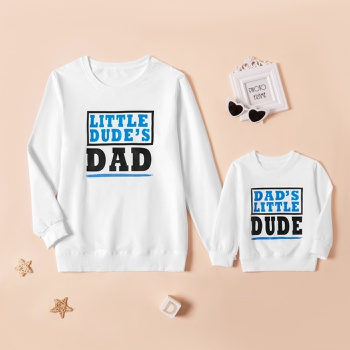 Letter Print White Cotton Sweatshirts for Dad and Me