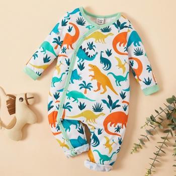 Baby Colorblock Dinosaur Allover Jumpsuit