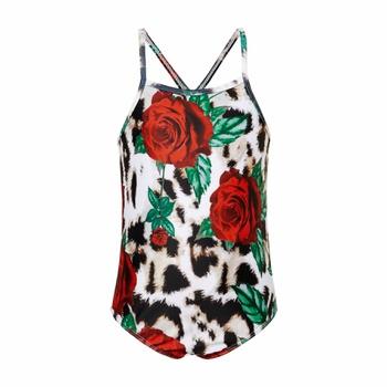 Trendy Rose Leopard Print Suspender Swimsuit