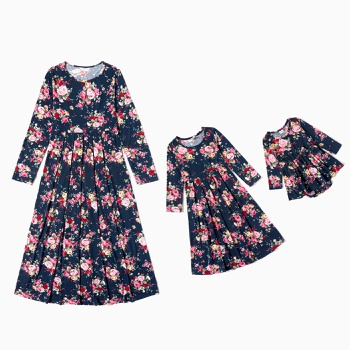 Mosaic Mommy and Me Floral Print Long-sleeve Dresses