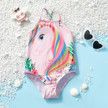 Trendy Unicorn Print Suspender Swimsuit