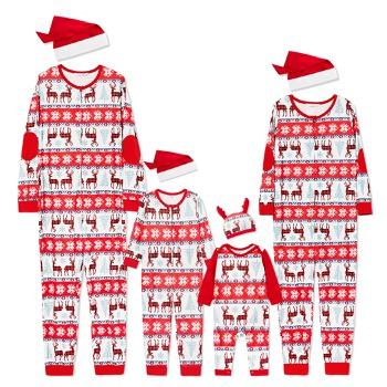 Family Plaid Reindeer Print Onesies Pajamas Within Christmas Hats (Flame Resistant)