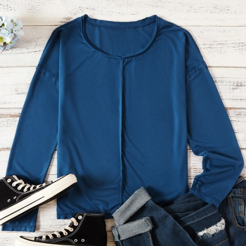 Round collar Plain long sleeve casual T-shirt