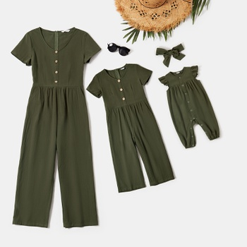 Mommy and Me 100% Cotton Front-button Solid Short-sleeve Jumpsuits