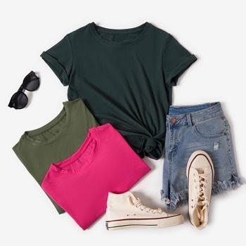 Round collar Plain Short Sleeve casual T-shirt
