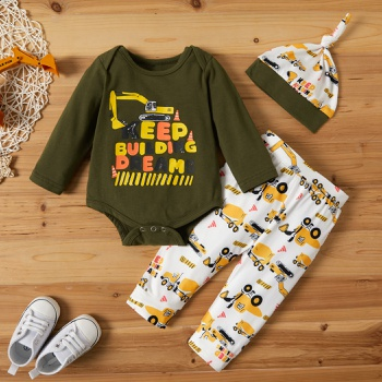 3pcs Baby Boy casual Vehicle Baby's Sets Romper Long-sleeve Fashion Cute Infant Clothes Outfit Clothing