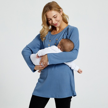 Maternity Round collar Plain Blue Long-sleeve Nursing Tee