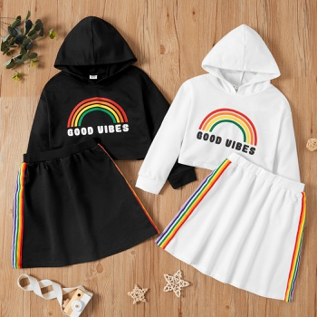 Kid Girl Hooded Top and Skirt Set