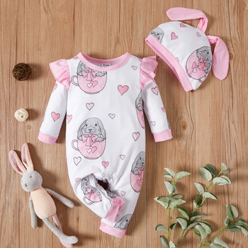 Baby Girl Sweet Rabbit Jumpsuit
