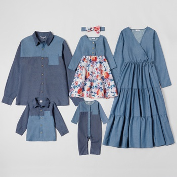 Mosaic Family Matching Denim Cotton Sets
