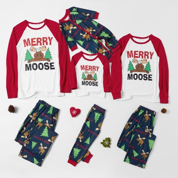 Family Matching Christmas Tree and Cute Moose Pajamas Sets (Flame Resistant)
