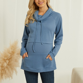 Maternity Plain Blue Long-sleeve Nursing Tee