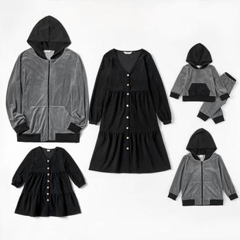 Mosaic Family Matching Dark Series Sets(V-neck Dresses - Hoodies Zipper Sweatshirts - Rompers)