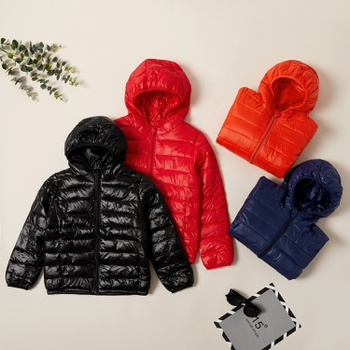 Kids Stylish Solid Hooded Down Coat