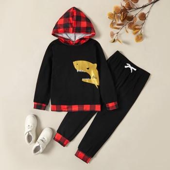Trendy Shark Plaid Hooded Sweatshirt and Pants Set