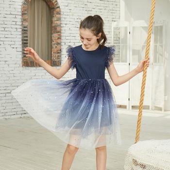 Sweet Gradient Color Mesh Dress