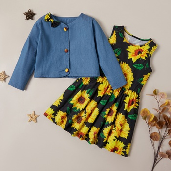 Trendy Button Bowknot Denim Longsleeves Shirt and Sunflower Allover Print Sleeveless Dress Set