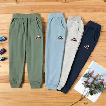 Baby / Toddler Car Embroidered Sporty Solid Casual Pants