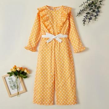 Fashionable Polka Dots Print Ruffled Strappy Long-sleeve Jumpsuit