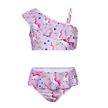 Beautiful Unicorn Ruffled Suspender Swimsuit Set